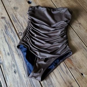 J Crew brown strapless one-piece swimsuit size 10
